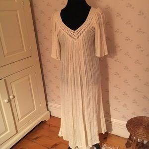 Dresses & Skirts - Vintage Off White Gauze Maxi Hippie Dress